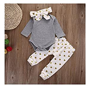 Ropa de bebé, egmy Cute 1set recién nacido bebé Niños Niñas Bear Pelele de Tops pantalones 3pcs trajes ropa