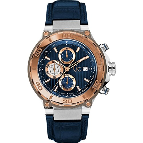 Guess Collection Men's Bold Blue Leather Band Steel Case Sapphire Crystal Quartz Analog Watch X56011G7S