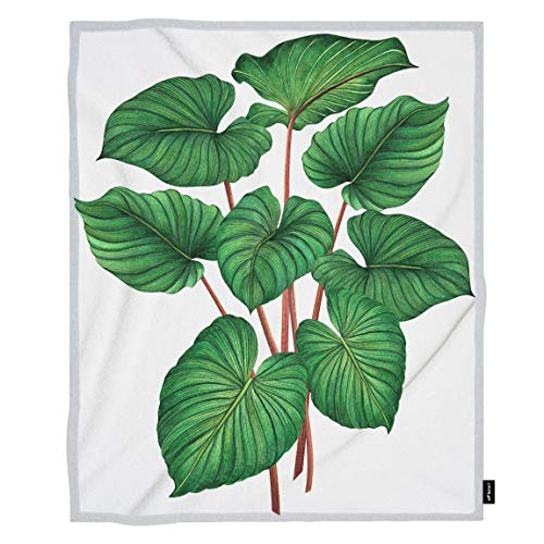Aloha 40 Inches Home Decor - oFloral Palm Leaf Throw Blanket Tropical Coconut Foliage Aloha Forest Plant Leaves Decorative Soft Warm Cozy Blankets for Baby Toddler Dog Cat Home Decor for Bed Chain Sofa Couch 30x40 Inch
