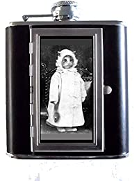 Win 1800s Cat Photo Dressed Like Baby with Toy Mouse 5oz Stainless Steel & Leather Hip Flask with Built-in Cigarette... compare