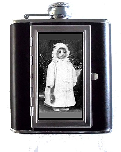 1800s Cat Photo Dressed Like Baby with Toy Mouse 5oz Stainless Steel & Leather Hip Flask with Built-in Cigarette Case - Leather Like Cigarette Case