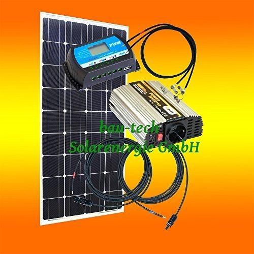 100 Watt Inselanlage, 12 Volt SET mit Spannungswandler ohne Batterie von bau-tech Solarenergie GmbH