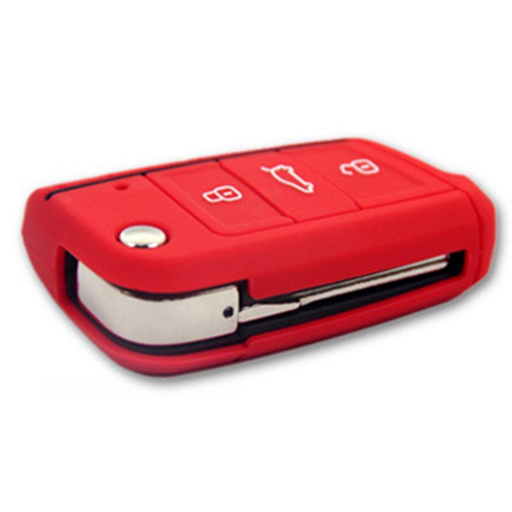 ST Cover in silicone per chiavi auto con motivo a nido d/'ape 1 pezzo rosso SC per chiavi pieghevoli con 3/tasti per VW Seat Leon 5F
