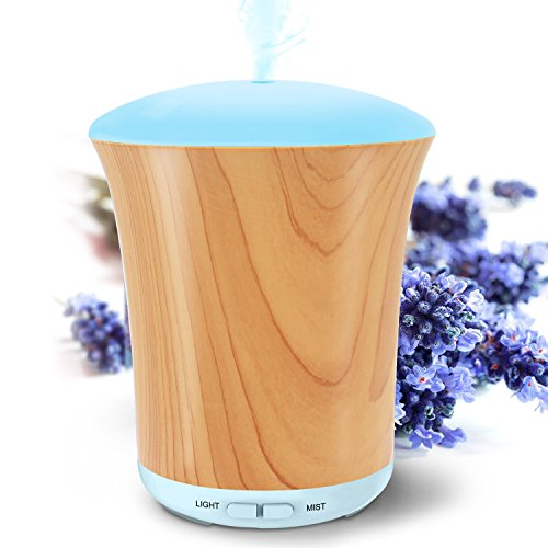 LUSCREAL Essential Oil Diffuser Woodgrain, 200ml Aromatherapy Diffusers for Essential Oils and Humidifiers with Adjustable Mist Mode, Auto Shut-off, 8 Colors Light for Home Gift (Diffuser Gift Set)