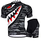 Nuckily Men's Cycling Cycle Sports Outdoor Bicycle 3D Cushion Padded Jersey Short Set, Black, Large