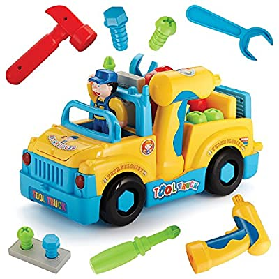 Multifunctional Take Apart Toy Tool Truck With Electric Drill and Power Tools, Lights and Music, Bump and Go Action
