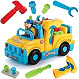 Liberty Imports FBA_789 Multifunctional Take Apart Toy Truck with Electric Drill and Power Tools, Lights and Music, Bump and Go Action