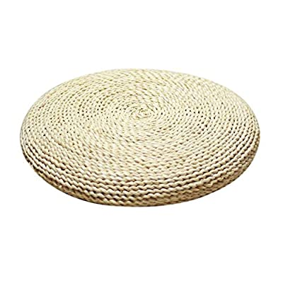 Layboo Handcrafted Eco-Friendly Breathable Padded Knitted Straw Flat Seat Cushion/Straw futon Cushion (Round Silk Wadding Filling 45cm(17.72in) 1 pcs: Home & Kitchen