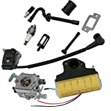 HIPA Carburetor + Ignition Coil + Spark Plug + Air Filter + Fuel / Oil Line Filter + Muffler Gasket + Intake Maniflod Boot Adapter for STIHL 021 023 025 MS210 MS230 MS250 Chainsaw