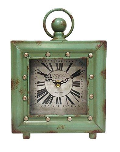 Ashton Sutton Quartz Analog Case Table Clock, 7.5-Inch, Antique Green Finish