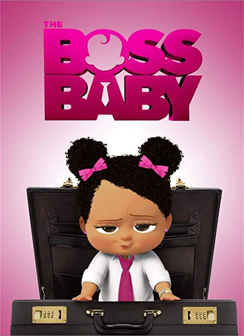 Pink Boss Baby Backdrop Black Girl 5x7 Photography Background For Baby Girl 2 Birthday Customized Baby Shower Party Backgrounds No Wrinkle Seamless