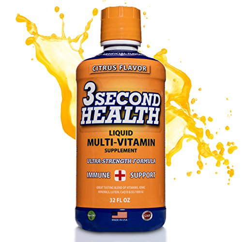 3 Second Health Liquid Multivitamin - Vegan - Non GMO - Gluten Free - Dairy Free - Soy Free - No Artificial Flavors or Preservatives - 32 servings - GMP - USA Made - Boost Energy and Mental Clarity