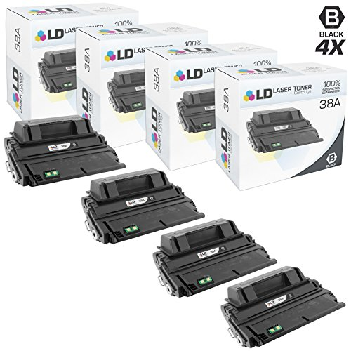 LD Compatible Toner Cartridge Replacement for HP 38A Q1338A (Black, 4-Pack)