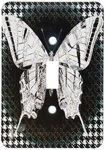 3dRose LLC lsp_61048_1 Pretty Lacey Butterfly On A Green and Black Houndstooth Background Single Toggle ()