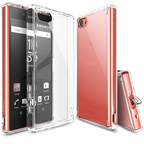 Ringke Fusion Compatible with Sony Xperia Z5 Compact Case Crystal Clear PC Back TPU Bumper w/Screen Protector Drop Protection, Shock Absorption Technology (Attached Dust Cap) - Clear