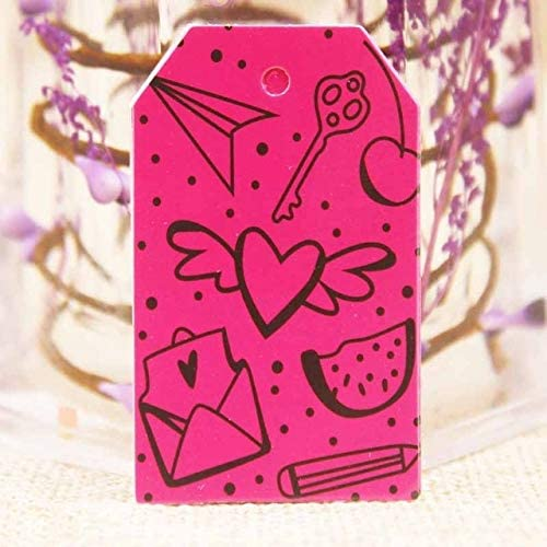 OBELLA BOUTIQUE Feiluan 1000pc gold foil love wedding tag card DIY paper handmade gift swing hang tag card pink heart married favors tag card 519VmwQB4EL