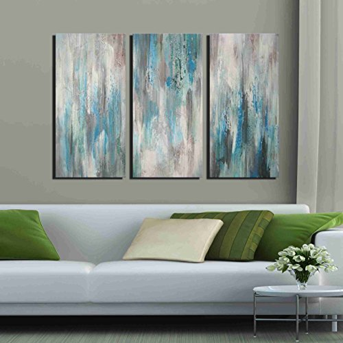 ARTLAND Hand-painted 'Sea of Clarity' Oil Painting Gallery-wrapped Canvas Art Set 3-piece (16x32inches x3) by ARTLAND