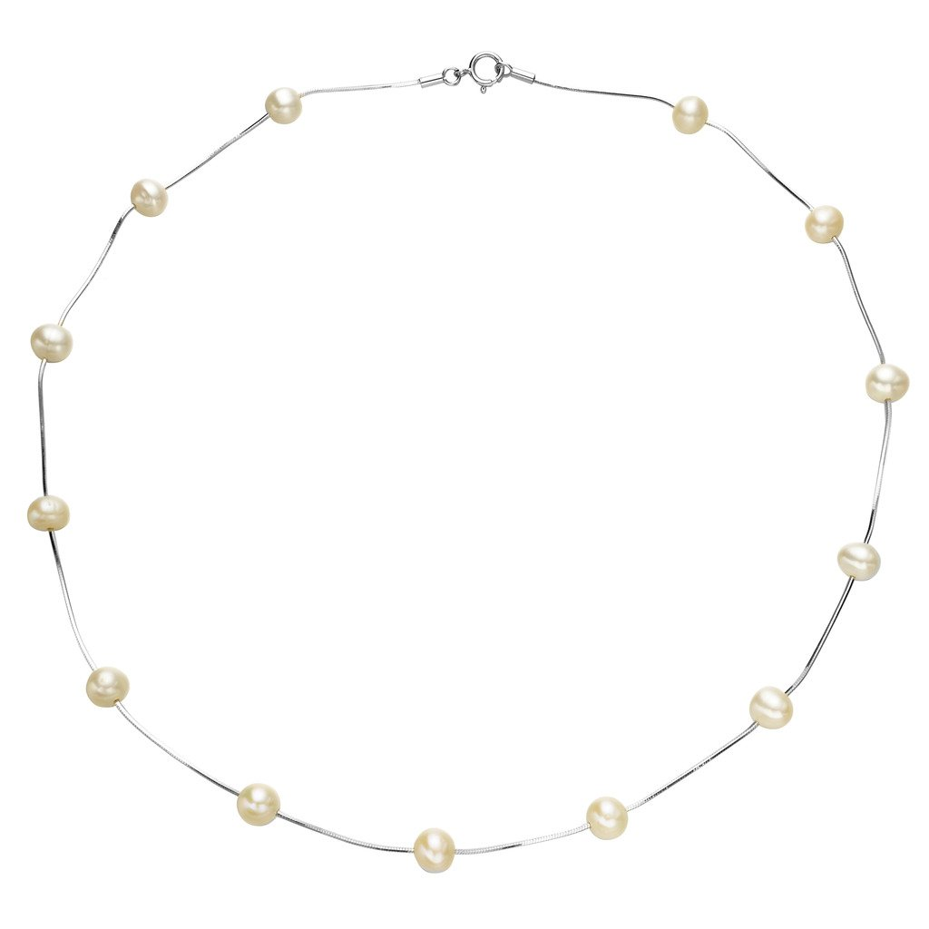 EVER FAITH Women's 925 Sterling Silver 6MM Freshwater Cultured Pearl Tin Cup Station Necklace/Bracelet