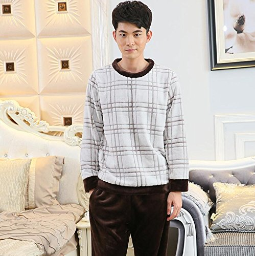 LJ&L Flannel Breathable Nightgown Large Size Couple Comfortable Nightgown Loose Bathrobe Fashion Pajamas,Men Lattice,XXL by LIUJIANGLONG