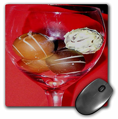 3dRose LLC 8 x 8 x 0.25 Inches Glass of Chocolate Truffles Mouse Pad (mp_6013_1)