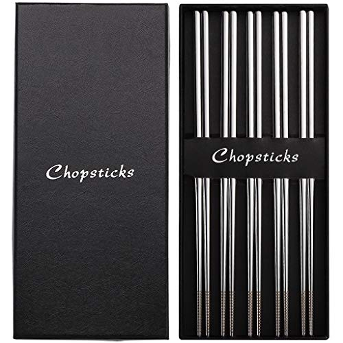 Devico Chopsticks, Metal Chopsticks, 18/10 Stainless Steel Chopstick Set, Reusable, Dishwasher Safe (5 pairs) by DEVICO