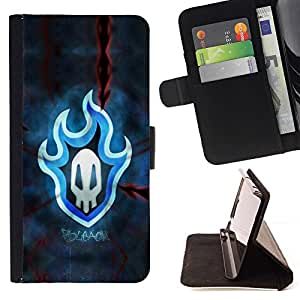 For Samsung Galaxy S4 IV I9500 Blue Flaming Skull Badge Beautiful Print Wallet Leather Case Cover With Credit Card Slots And Stand Function