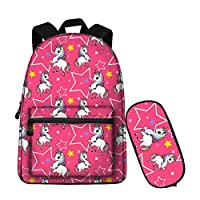 Preschool School Backpack for Girls Canvas Unicorn Book bag with Pencil Bag