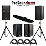 QSC K12 (Pair) 1000 Watts ea, 1 x 12 Inches 2-Way Powered Speaker - QSC KSUB (Pair) Powered Subwoofer - Free (4) XLR Cables 15ft - Free Speaker Stands W/ bag (ProSoundGear) Authorized Dealer