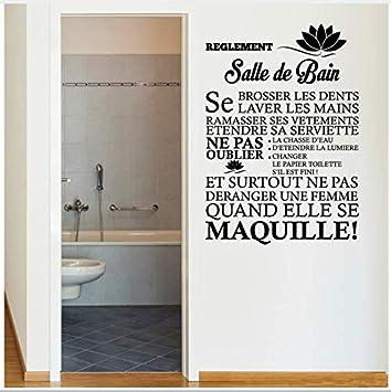 Français Citation Wall Sticker Les Règles De La Salle De Bains Avec ...