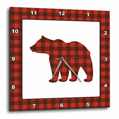 Buffalo Clock - 3dRose Buffalo Plaid Bear Wall Clock, 10 x 10