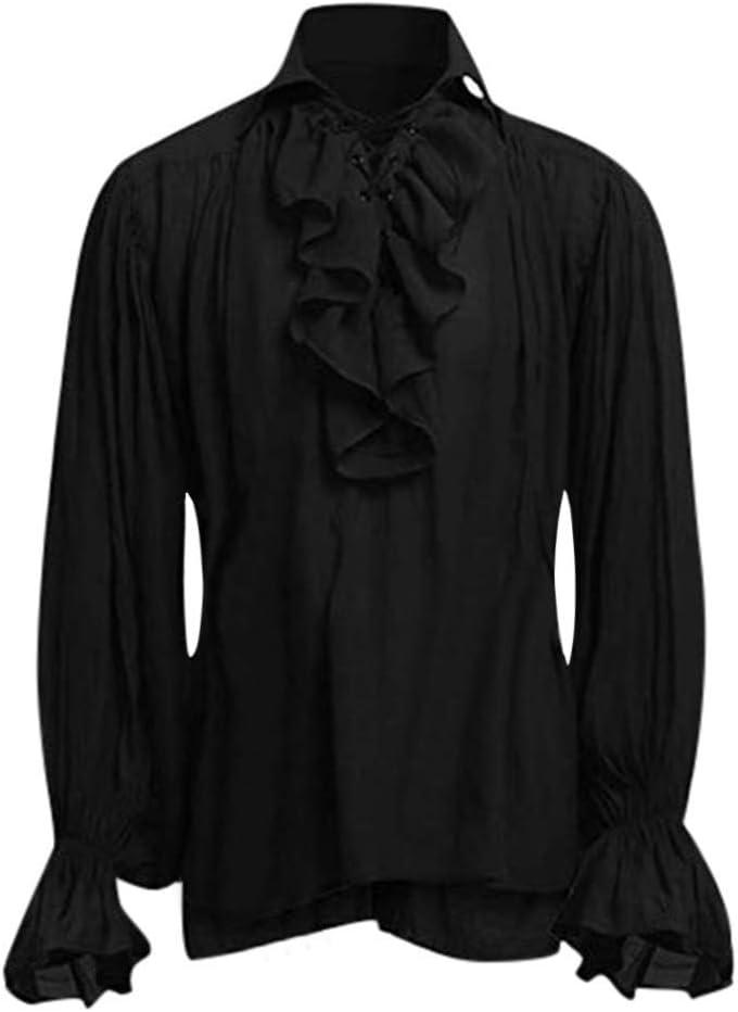 foreverH FORH - Camisa de Manga Larga para Hombre, Estilo Medieval, Estilo gótico, Estilo Victoriano, con Cordones (XL, Negro): Amazon.es: Jardín
