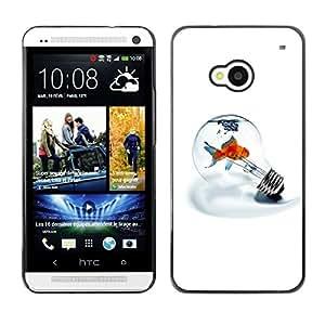 TopCaseStore / la caja del caucho duro de la cubierta de protección de la piel - Metaphor Goldfish Minimalist Light Bulb White - HTC One M7