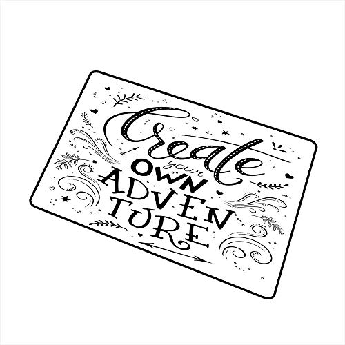 RelaxBear Adventure Welcome Door mat Create Your Own Adventure Lettering with Crowded Backdrop Cute Little Hearts Door mat is odorless and Durable W23.6 x L35.4 Inch Black White (A Thankful Heart Creates A Thankful Home)