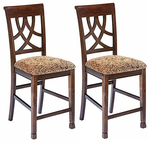 Cheap Ashley Furniture Signature Design – Leahlyn Upholstered Barstool – Pierced Splat Back – Set of 2 – Medium Brown
