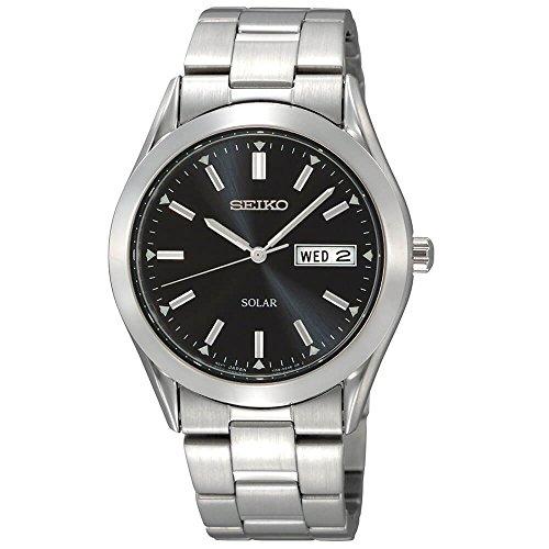 Men's  Stainless Steel Solar Watch - Seiko SNE039