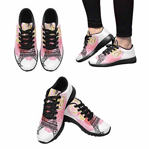 D-story Jogging Running Sneaker Torre Eiffel Mujeres Casual Confort Deportes Calzado Para Correr Walking Negro