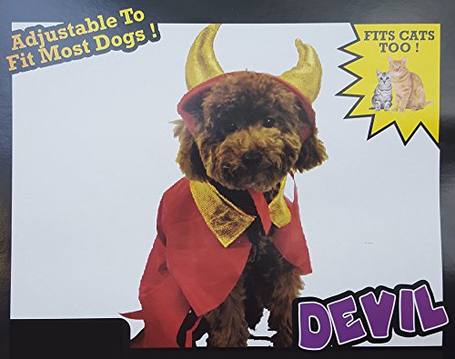 Devil Cat Costumes (Halloween Pet Costume For Small Dog or Cat Adjustable Size (Devil))