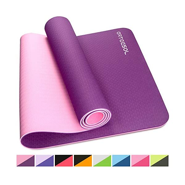 Premium for Pilates arteesol Exercise Mat Women and Men 183 cm x 61 cm x 6 mm Anti-Tear Eco Friendly Yoga Mat Fitness Non-Slip 6mm Thick Large Fitness Mat with Carry Straps