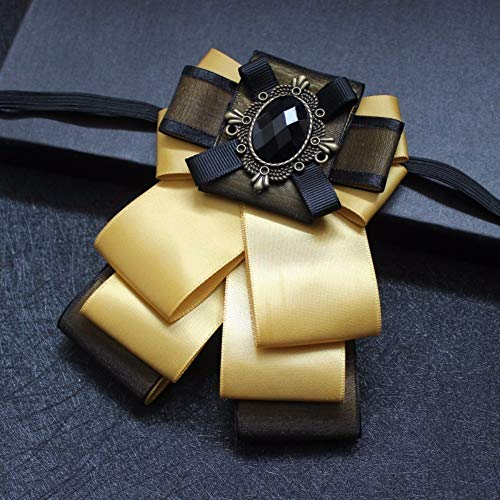 Cameo Flower Fabric Rhinestone Pins and Brooches Vintage Luxury Badge Cravat Broche for Men Yellow ()