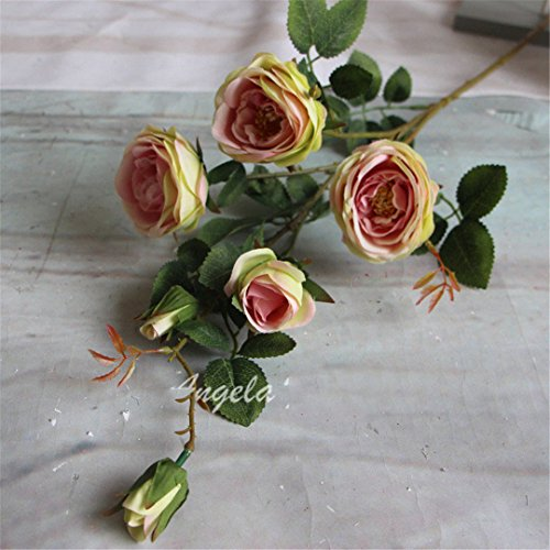 DHD 11Pcs/Lot French Romantic Colorful Silk Flower Big Size Floor Artificial Rose 6 Heads/Bouquet Wedding Decoration Flower Chocolate
