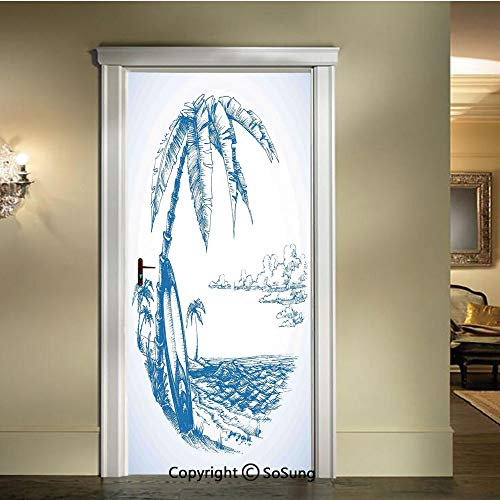 (baihemiya 3D Door Mural Wallpaper Stickers,Contemporary-Sketch-Illustration-of-Hawaiian-Beach-with-Surfboard-Palm-Tree-and-Ocean-Water,W30.3xL78.7inch,Self-Adhesive Wall Door Stickers DecorBlue-White)