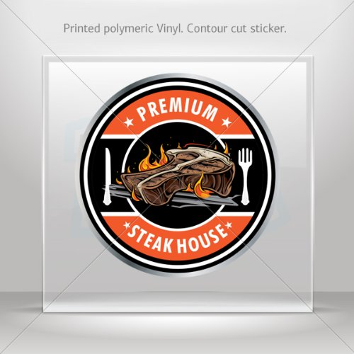Decals Decal Premium T-Bone Barbeque Meat Steak House Sign Atv Weather (3 X 3 Inches) (Seating Weather)