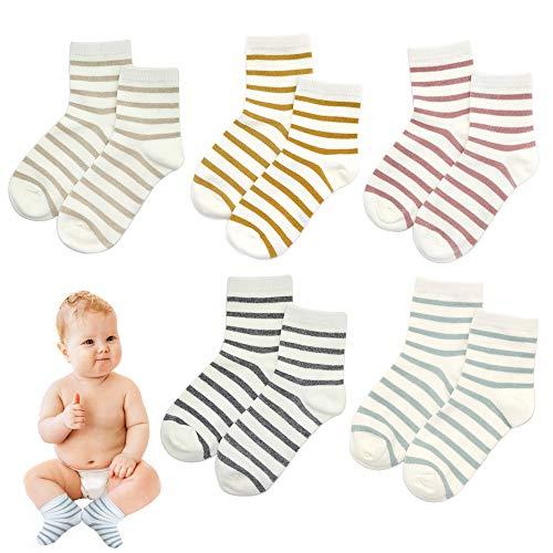 Toddler Baby Girls Boys Socks Stripe Infant Socks Cartoon Glitter Children Ankle Cotton Socks For Kids Assorted 5 Pairs