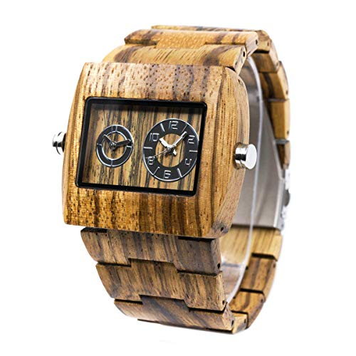 Square Dial Wooden Watches for Men Bewell W021C Dual Time Display Wood Watches (Zebra Wood)