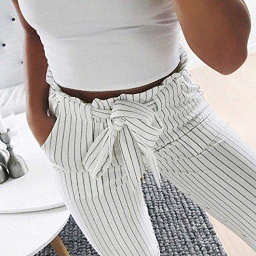 Fit Streetwear Semplice Trousers Pantaloni Pantalone Di Glamorous Vita Inclusa Estivi Pantaloni Stripe Elastica Stoffa Pantaloni Swag Eleganti Donna Slim Primaverile Cintura Con Bianca Moda Tasche Lunga qPAwUaHq