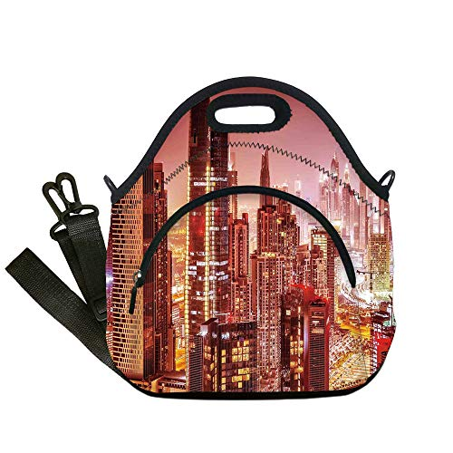 Insulated Lunch Bag,Neoprene Lunch Tote Bags,Cityscape,Dubai at Night Cityscape with Tall Skyscrapers Panorama Picture Arabian Peninsula,Pink Gold,for Adults and children