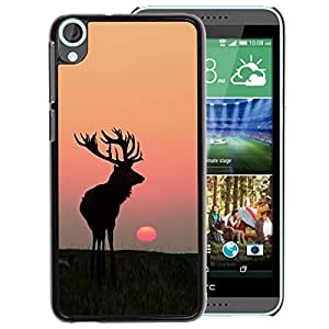 A-type Arte & diseño plástico duro Fundas Cover Cubre Hard Case Cover para HTC Desire 820 (Moon Sunset Summer Antlers Hunting Deer)