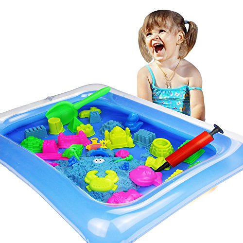 Zuzu Boom Play Sand and Sand Molds Kit - Including Moon Sand 2LB(Blue) Inflatable Tray, Storage Box, 50 Pieces Magic Sand Molds - Deluxe Castle Set (Blue