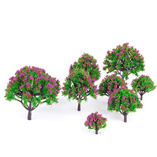 10pcs-5-sizes-model-tree-with-fuchsia-flower-railroad-scenery-diorama