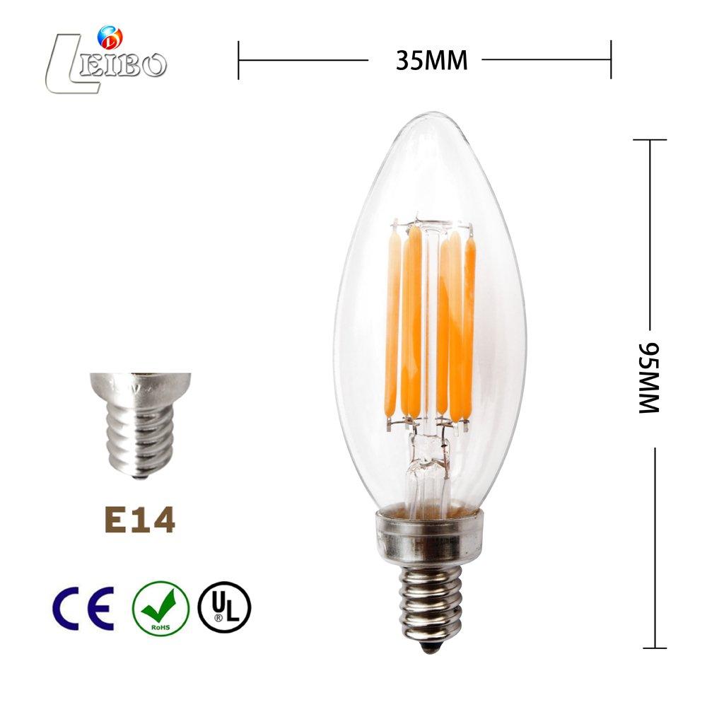Medium Screw Base Leibo Edison E12 LED Bulb 6 Pack 60 Watt Equivalent 2700K Soft White C35 Non Dimmable 6